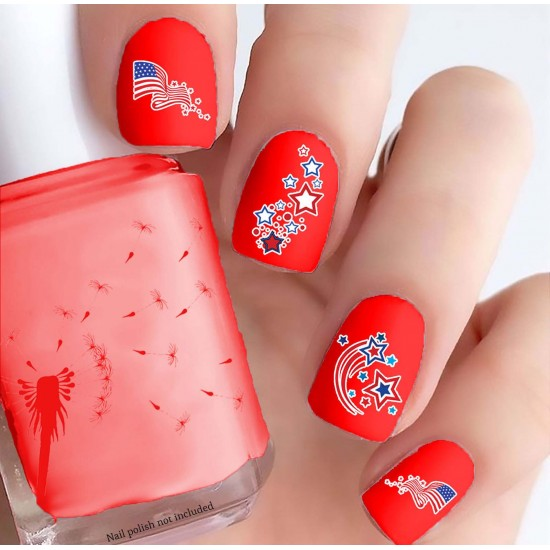 4th of July Flags & Stars Nail Decals