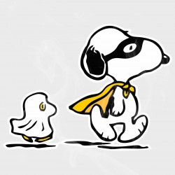 Peanuts Snoopy & Woodstock Halloween Ghosts Static Cling Decal
