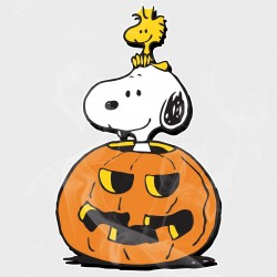 Peanuts Snoopy & Woodstock Halloween Pumpkin Static Cling Decal