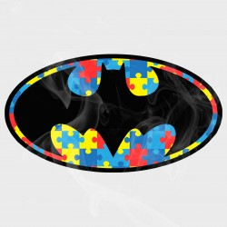 Autism Awareness Batman Style Logo Static Cling Decal