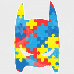 Autism Awareness Batman Style Mask Static Cling Decal
