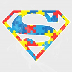 Autism Awareness Superman Style Logo Static Cling Decal