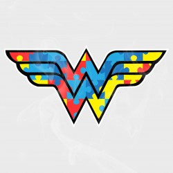 Autism Awareness Wonder Woman Style Logo Static Cling Decal