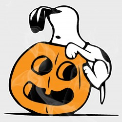 Peanuts Snoopy Peeking in Pumpkin Halloween Static Cling Decal