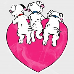 101 Dalmatians Puppy Bottoms Heart Static Cling Decal