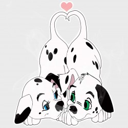 101 Dalmatians Puppy Tails Heart Vinyl Decal