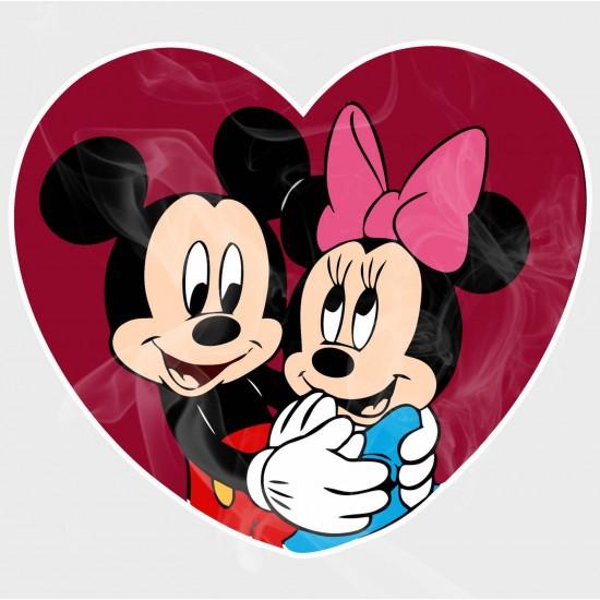 Mickey & Minnie Heart Collection (Hug) Vinyl Iron-On Decal