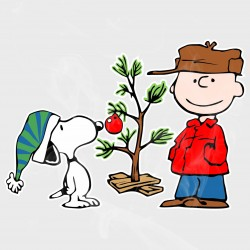 Peanuts Snoopy & Charlie Brown Christmas Tree Static Cling Decal
