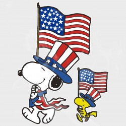 Peanuts Snoopy & Woodstock 4th of July Flags Static Cling Decal