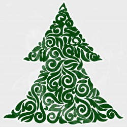 Abstract Christmas Tree Static Cling Decal