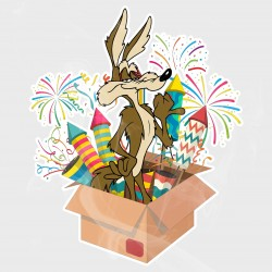 Looney Tunes Wylie Coyote Fireworks Static Cling Decal