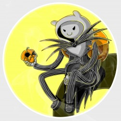 Adventure Time Finn Jack Skellington Static Cling Decal