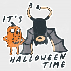 Adventure Time Finn & Jake It's Halloween Time Static Cling Decal